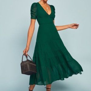 """NWT Reformation """"Cosa"""" Dress in Emerald size 4"""